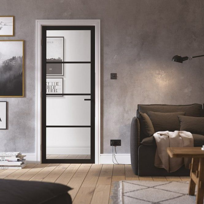 Internal Black Primed Soho 4l Clear Glass Door Sohbla